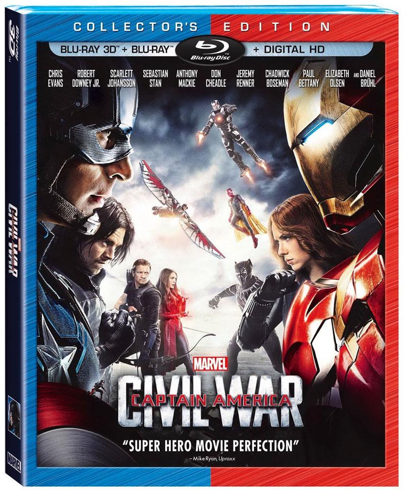 Marvel's Captain America: CivilWar DVD, Blur-ay, 3D Blu-ray, and Digital Cover Artwork