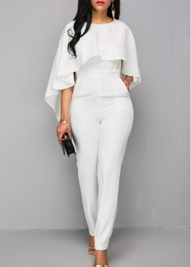 Modlily White Jumpsuit V Back Jumpsuit Zipper Closure Jumpsuit Cloak Jumpsuit for Women - S