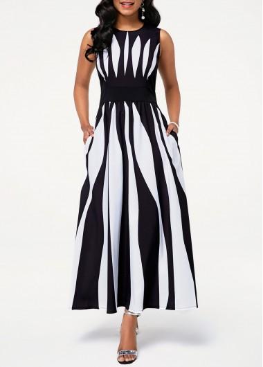 Modlily Black And White Sleeveless Maxi Dress Round Neck Sleeveless Stripe Print Pocket Dress - L