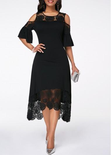 Modlily Black Cold Shoulder Crochet Trim Dress Cold Shoulder Flare Cuff Crochet Detail Dress - S
