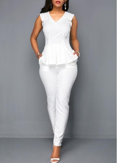Modlily V Neck Peplum Sleeveless White Jumpsuit - S