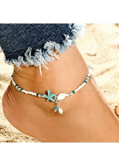 Modlily Star Design Bead Embellished White Anklet - One Size