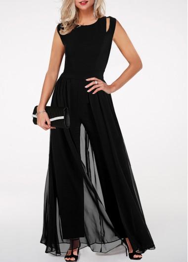 Modlily High Waist Chiffon Black Jumpsuit Round Neck High Waist Chiffon Overlay Black Jumpsuit - S
