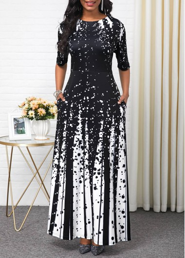Black Friday Half Sleeve Maxi Dress - L