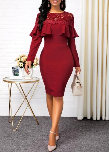 Modlily Christmas Holiday Dress Lace Panel Ruffle Hem Back Slit Sheath Dress - XL