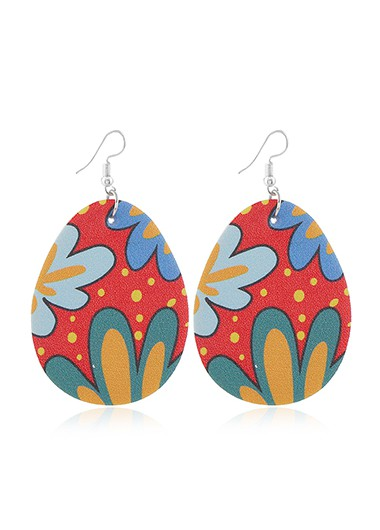 Modlily Flower Print Plastic Multi Color Earring Set - One Size