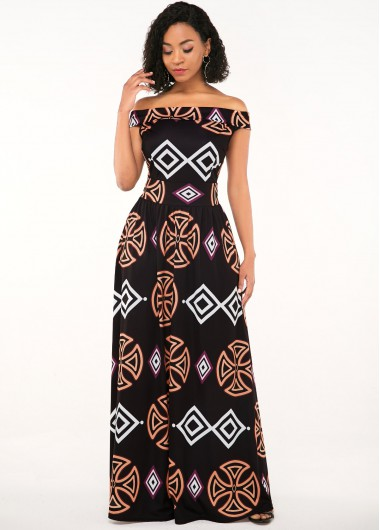 Modlily African Print Off the Shoulder Zipper Closure Dress - XXL