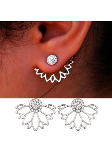 Modlily Lotus Shape Rhinestone Earrings for Lady - One Size