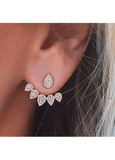 Modlily 0.98 X 0.86 Inch Water Drops Shape Gold Rhinestone Earrings - One Size