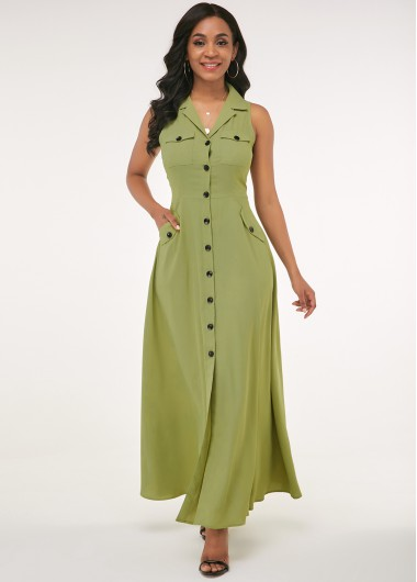 Modlily Button Up Side Pocket Turndown Collar Maxi Dress - XL