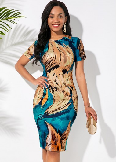 Modlily Abstract Print Round Neck Short Sleeve Dress - XXL