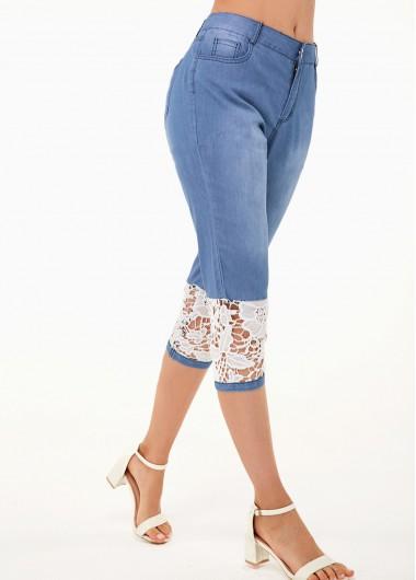 Modlily Lace Panel Contrast Design Denim Blue Jeans - L
