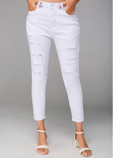 Modlily Shredded White Cropped Zipper Closure Pants - S