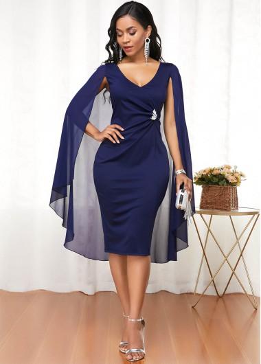 Modlily Cape Shoulder V Neck Navy Blue Dress - M
