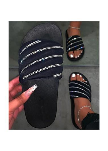 Modlily Rhinestone Embellished Black Slippers for Women - 40