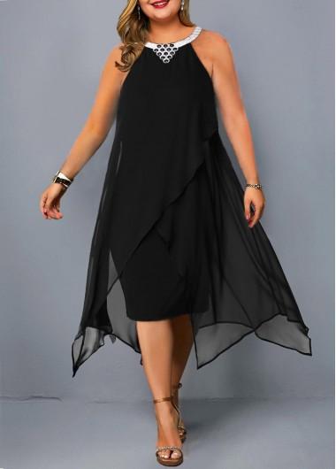 Modlily Plus Size Asymmetric Hem Embellished Neck Chiffon Dress - 2X