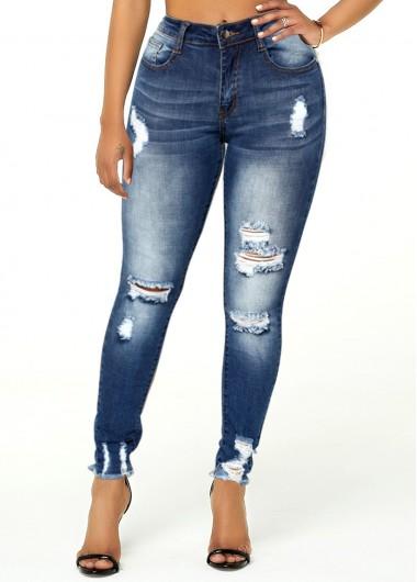 Modlily Shredded Acid Washed Frayed Hem Jeans - M
