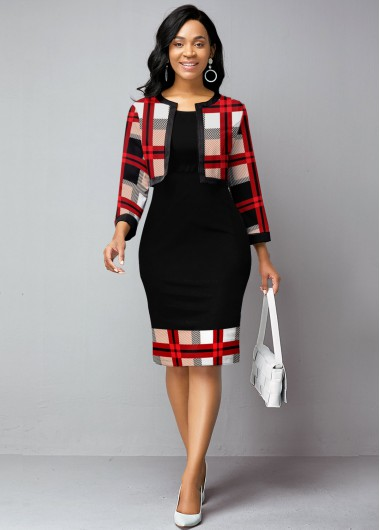 Modlily Christmas Holiday Dress Open Front Cardigan and Plaid Print Dress - XL
