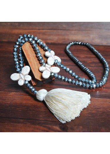 Modlily White Tassel Bead Butterfly Design Necklace - One Size