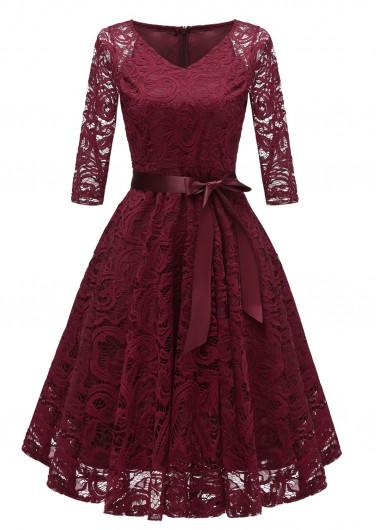Modlily Christmas Holiday Dress Belted Lace V Neck Three Quarter Sleeve Dress - M
