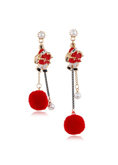 Modlily Santa Claus Pearl Detail Red Earring Set - One Size