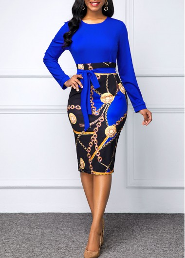 Modlily Chain Print Round Neck Belted Dress - XL