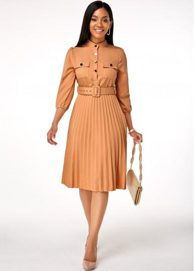 Modlily Button Up Buckle Belted Pleated Hem Dress - XXXL