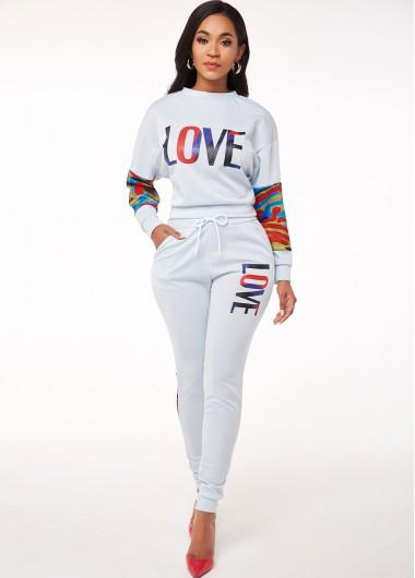Modlily Letter Print Long Sleeve Drawstring Waist Sweatsuit - XL