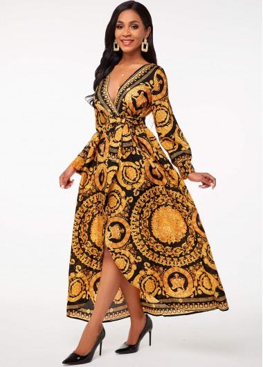 Modlily Bohemian Print Belted V Neck Dress - L