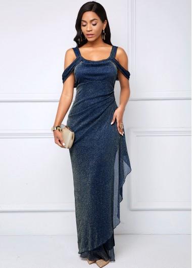 Modlily Bright Silk Strappy Cold Shoulder Side Slit Dress - L
