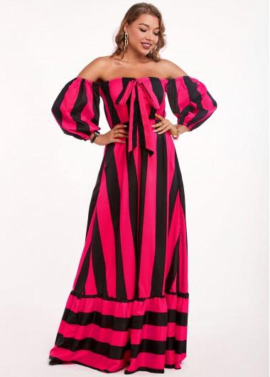 Modlily Bowknot Striped Off Shoulder Maxi Dress - 2XL