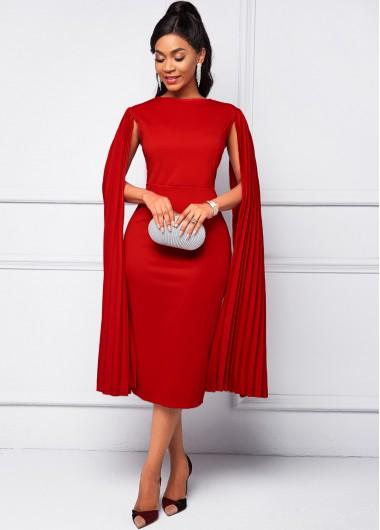 Modlily Cape Sleeve Red Round Neck Bodycon Dress - XL