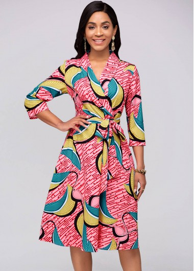 Modlily Belted Printed 3/4 Sleeve Red Dress - XXL