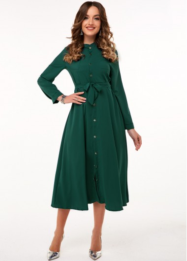 Modlily Button Up Long Sleeve Belted Dress - 3XL