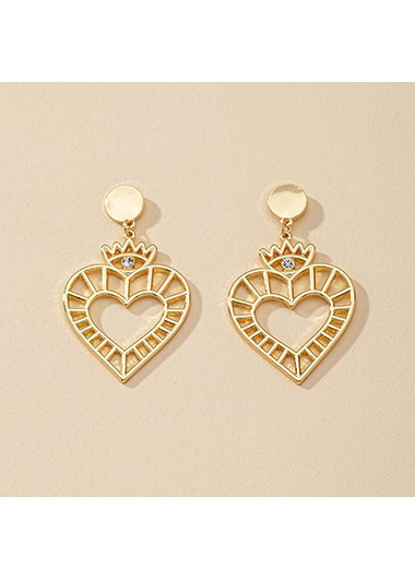 Modlily 1.2 X 2.0 Inch Gold Metal Heart Earring Set - One Size
