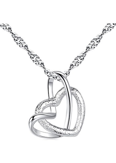 Modlily Double Heart Design Silver Metal Necklace - One Size