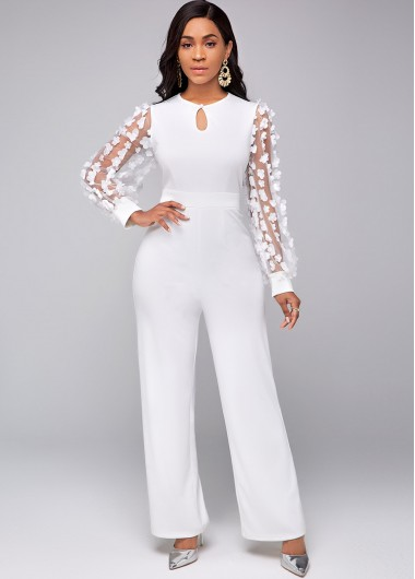 Modlily Lace Stitching Keyhole Neckline Long Sleeve Jumpsuit - M