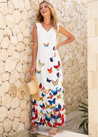 Modlily Butterfly Print Sleeveless V Neck Dress - M