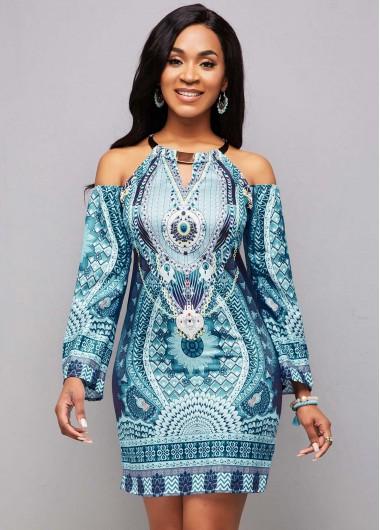 Modlily Bib Neck Tribal Print Long Sleeve Bodycon Dress - 3XL