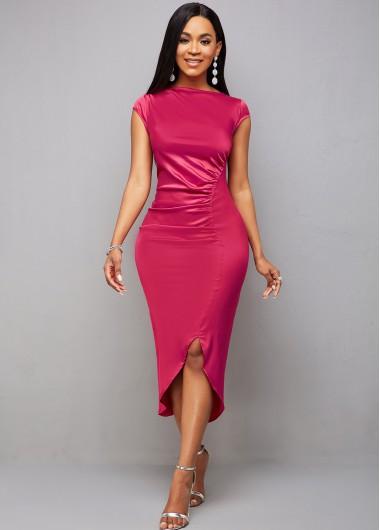 Modlily Asymmetric Hem Ruched Cap Sleeve Bodycon Dress - M