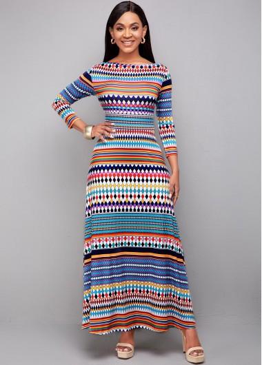 Modlily Bohemian Print Long Sleeve High Waist Dress - L