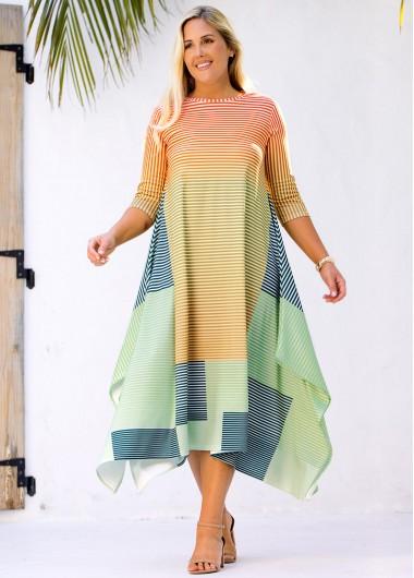Modlily Plus Size Asymmetric Hem Striped Dress - M