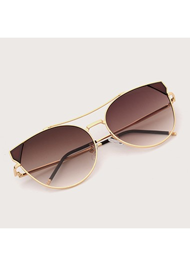 Modlily 1 Pair Round Frame Brown Metal Sunglasses - One Size