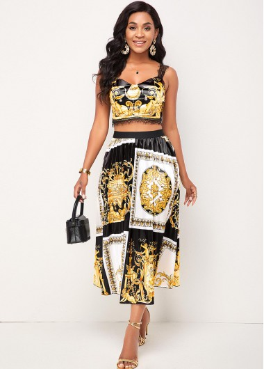Modlily Baroque Print Lace Stitching Camisole Top and Skirt - L