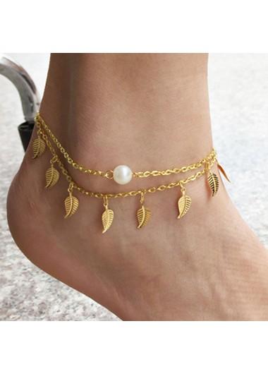 Modlily Pearl Detail Leaf Gold Metal Anklet - One Size