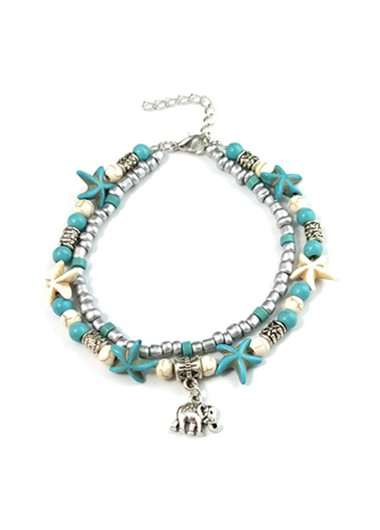 Modlily Layered Sea Star Beaded Elephant Beach Anklet - One Size