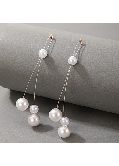 Modlily 3.7 Inch Pearl Detail Earring Set - One Size