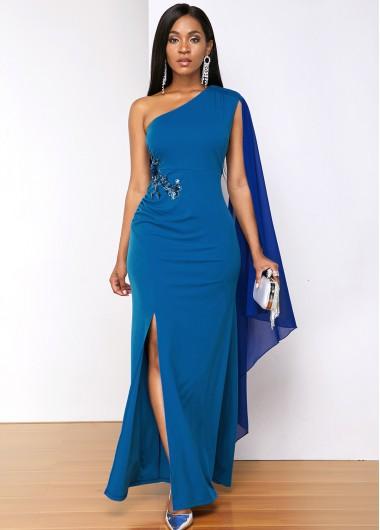Modlily Blue Sequin Detail Side Slit Dress - M
