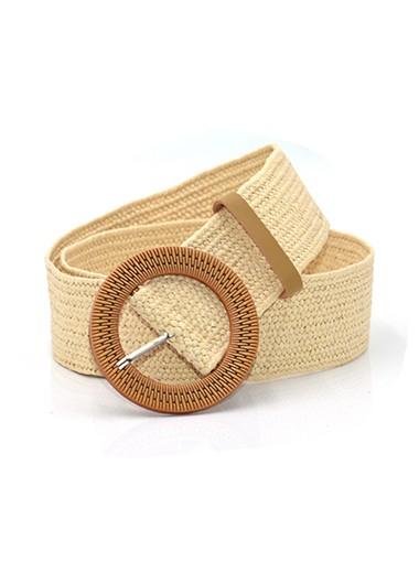 Modlily Weave Design Wide Vintage Round Buckle Belt - One Size