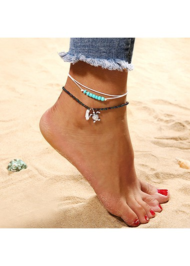 Modlily Turquoise Detail Turtle Design Beads Anklets - One Size